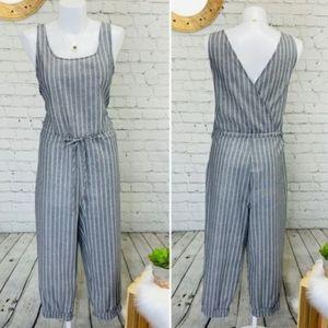 Anthropologie Drew Chambray Striped Crop Jumpsuit